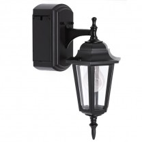 REVERSIBLE WALL LANTERN WITH BUILT-IN ELECTRICAL OUTLET (GFCI)