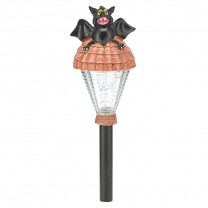 "15.375"" POLYRESIN BAT HEAD HALLOWEEN SOLAR LIGHT"