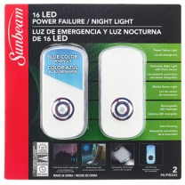 SUNBEAM 16 LED POWER FAILURE / NIGHT LIGHT, 230V - 2 PACK, TRAPPED BLISTER