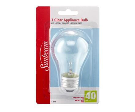 SUNBEAM LAMPE D'APPAREIL MÉNAGER A15 40 W, CLAIRE, CARTE BLISTER