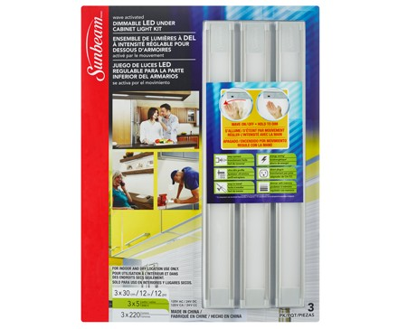 Sunbeam 12 Dimmable Ultra Slim Led Under Cabinet Light Kit 3 Pack Blister